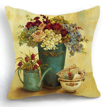 Retro Vintage Vase Flower Home Decor Sofa Decorative Bohemian Cloud Pillow Case Funny Cushion Cover Car Almofada Almohadones