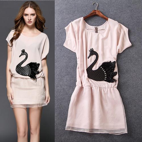 2015 summer style new women's casual fashion runway high quality cute dress swan diamond elastic waist was thin dress(China (Mainland))