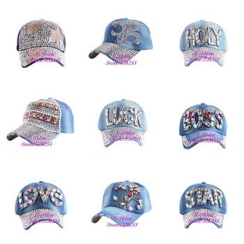 Женщины марка бейсбол кепка горный хрусталь кристалл деним снэпбэк шапки женщина ...