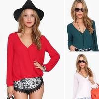 New arrival  fashionable casual blusa de renda long-sleeve V-neck women's chiffon shirt plus size women clothing