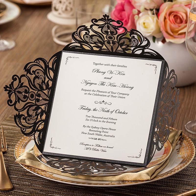 aliexpress buy high class black vingtage wedding invitation cards ...