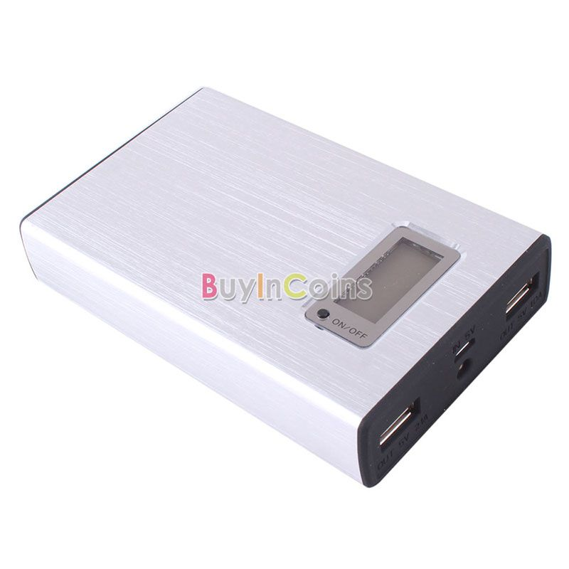 12000mAh LCD External Portable Power Bank Backup Dual USB Battery Charger for iPhone PSP White US AS #40246(China (Mainland))