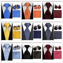 UN4 Men's Accessories Classic Lattice Wedding Party Ties Neckties Set Orange Blue Red Ties Match Cufflinks Handkerchief Set(China (Mainland))