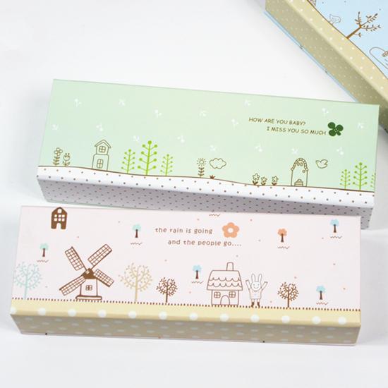 Cartoon painting paper eco-friendly stationery box pencil box storage box