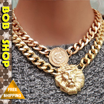 Free Shipping 2014 new vintage jewelry queen's head golden lion head pendant necklace necklaces & pendants AN041 Bob shop