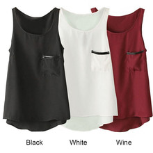 Elegant Women Summer Sexy Chiffon Sleeveless Tank Tops korean fashion Vest Pocket Singlet Free Shipping