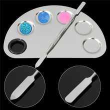 Stainless Steel Cosmetic Semicircle Five-hole Makeup Palette Nail Art Palette Mixing Spatula Cosmetic Makeup Tool Kits(China (Mainland))