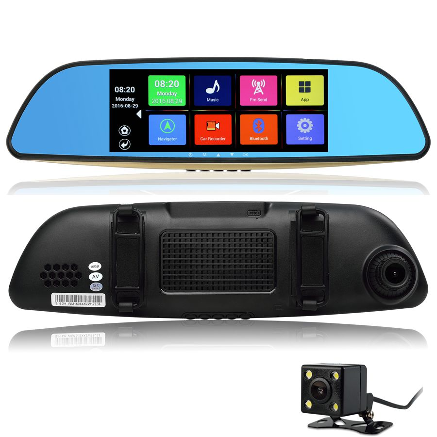7 inch Android GPS Mirror DVR Bluetooth Phone Call Full HD 1080P WiFi Dual Video Camera Rear View Mirror GPS(China (Mainland))