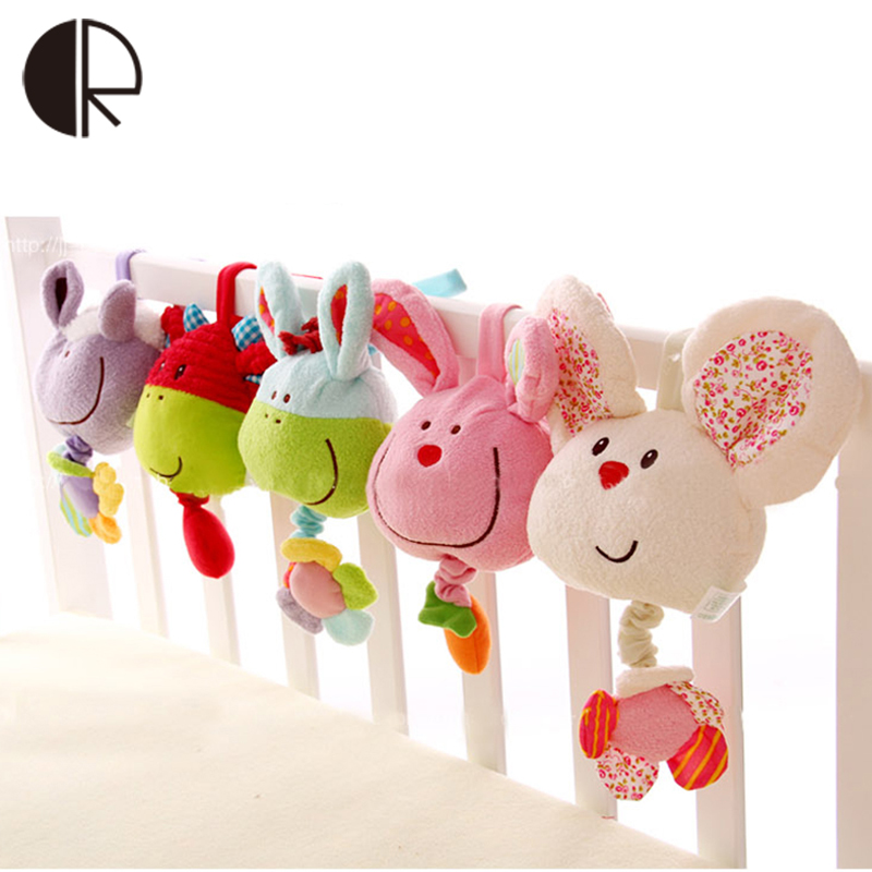 Soft Plush Musical Baby Rattles Easter Stuffed Toy With BB Device Stroller Hanging Bed Dolls Rabbit Educational Toy 0-12 Months(China (Mainland))