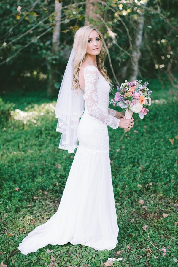 Romantic beach wedding dresses backless long white dress for Long sleeve white lace wedding dress