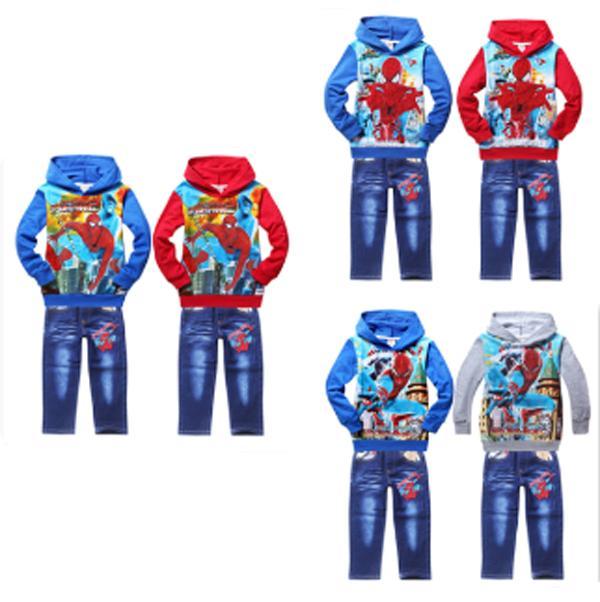 New Fashion Spiderman Childrens Winter Autumn Clothing Kids Boys Hoodies Jacket Coat Jeans Pants Suit ES-124<br><br>Aliexpress