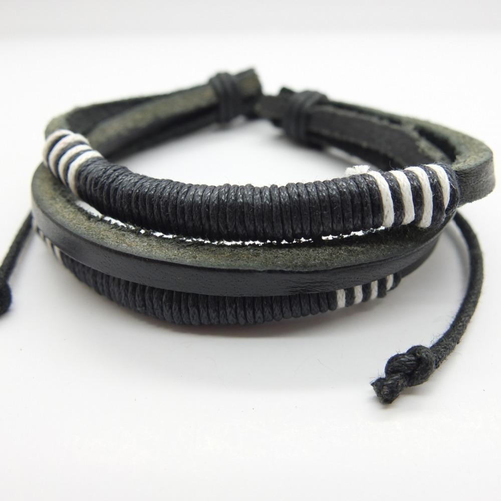 17%OFF 2015 Multilayer Weave Wrap Hemp&Genuine Leather Bracelet vintage Adjustable Size Men LB026 - Gelory Z&J Top Fashion Jewelry store