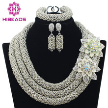 Silver African Beads Jewelry Set 2017 Nigerian Wedding African Beads for Brides Party Bridal Jewelry Set Free Shipping WB913(China (Mainland))