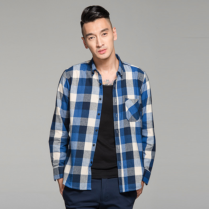 Buy langmeng 2015 brand 100 cotton for Mens slim fit flannel shirt