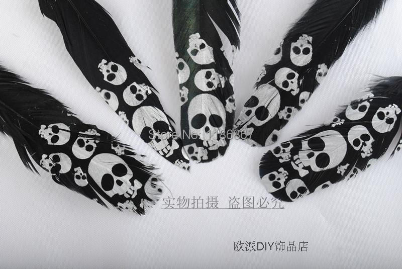 Top Quality Print Silver Skull Black Feather,50pcs/lot, Length About 13CM,Beautiful Turkey Feather DIY decoration Feather KX59(China (Mainland))