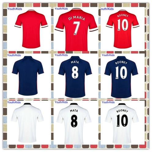 2015 Newest Youth FALCAO v.Persie Januzaj Di Maria Mata Red White Carrick Blue Soccer Jersey 2014-2015 Kids Jerseys(China (Mainland))