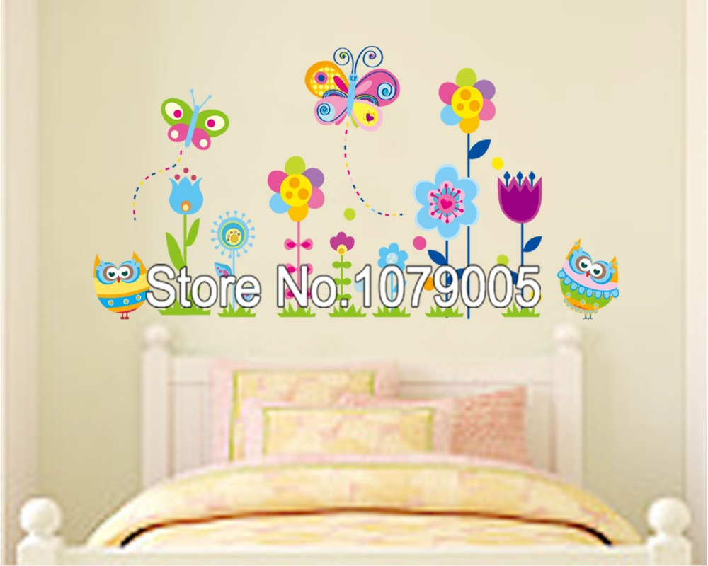 Dragonfly Nursery Wall Decor : Cute butterfly dragonfly flowers removable wall decals