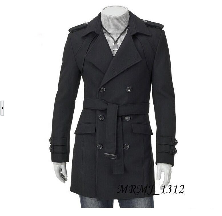 Free shipping new arrival men long coat double-breasted trench coat men jacket promotion cheap fall winter clothes for man(China (Mainland))