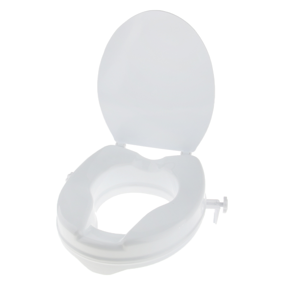 Durable Toilet Seat Riser Raised Safety Chair Extender Seat + Lid for 2 inch