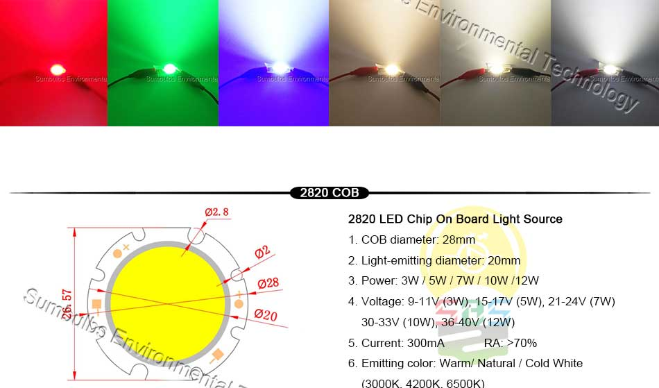 5W 10W 20W 30W 50W 200W Rounded COB LED Light Source Warm Natural Cold White Integrated Circular LED Chip On Board (2)