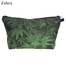 Zohra weed 3D printing travel Women maleta de maquiagem Party Cosmetics Bags neceser handbag organizer necessaire Makeup bag