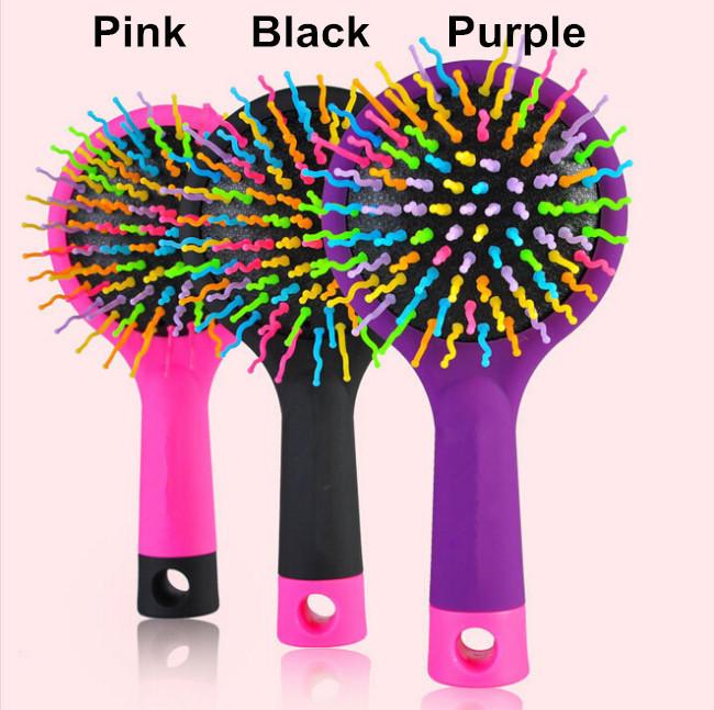 Korean Rainbow Volume Comb Magic Hair Brush Hair Salon Comb Rainbow Hairbrush Fashion Comb Anti-tangle Brush Massage(China (Mainland))