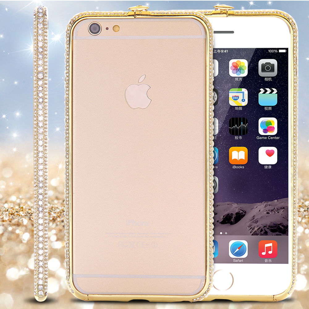 Luxury Bling Rhinestone Aluminum Metal Bumper For iPhone 6 4.7 / Plus 5.5 Crown Diamond Cell Phone Frame Cover Case Accessories(China (Mainland))