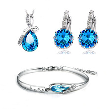 Top Quality Necklace&Bracelet&Earring Sets 3 Layer Platinum Plated with Blue Zircon Crystal Women Jewelry Sets WS44(China (Mainland))
