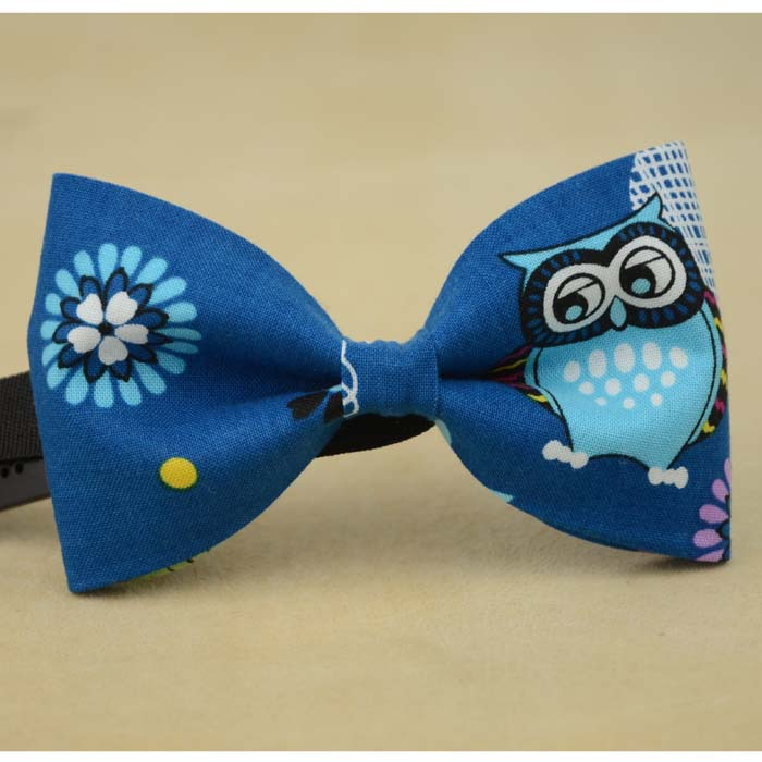 blue owl bow tie fashion ties men gift accessories necktie handmade cotton - by sunny store