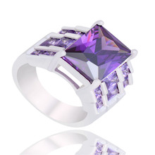 New Sale 1PC Purple Charming Square 925 Sterling Silver Popular CZ Woman's Ring Size 7-10(China (Mainland))