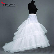 2016 Petticoats Wedding Dress Crinoline Bridal Petticoat Underskirt 2 Hoops with Chapel Train