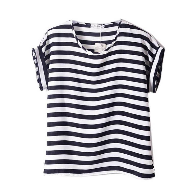 Women Chiffon Blouses T Shirts Tops Loose Short Sleeve Ladies T-shirts Blouses Striped Heart Lip HOT 15 Colors(China (Mainland))