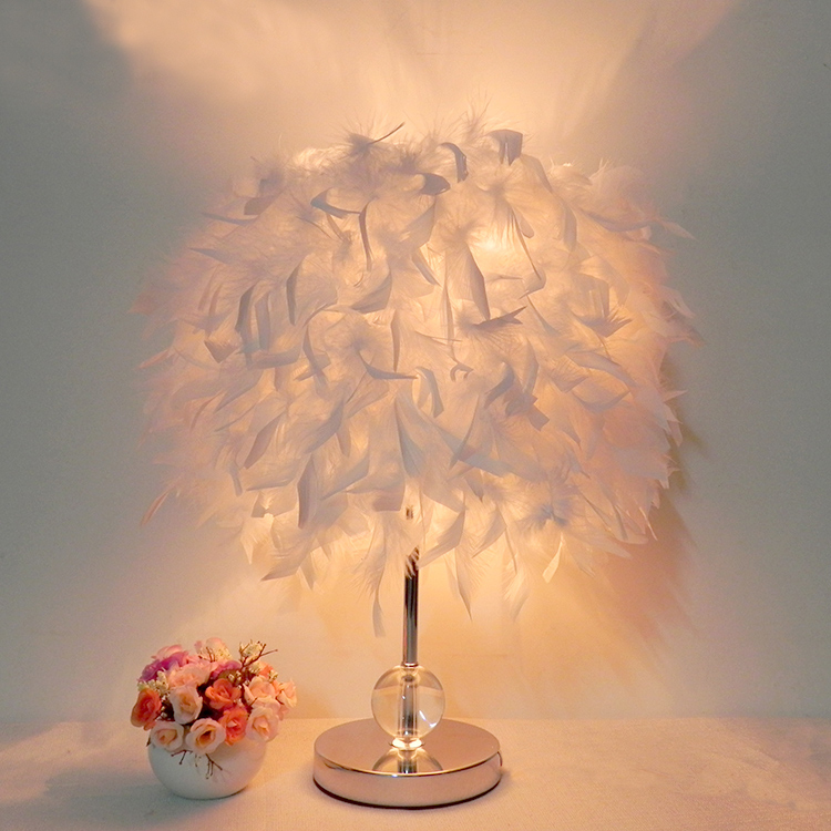 Bedside reading room foyer sitting room living with white feather table light lamp crystal(China (Mainland))