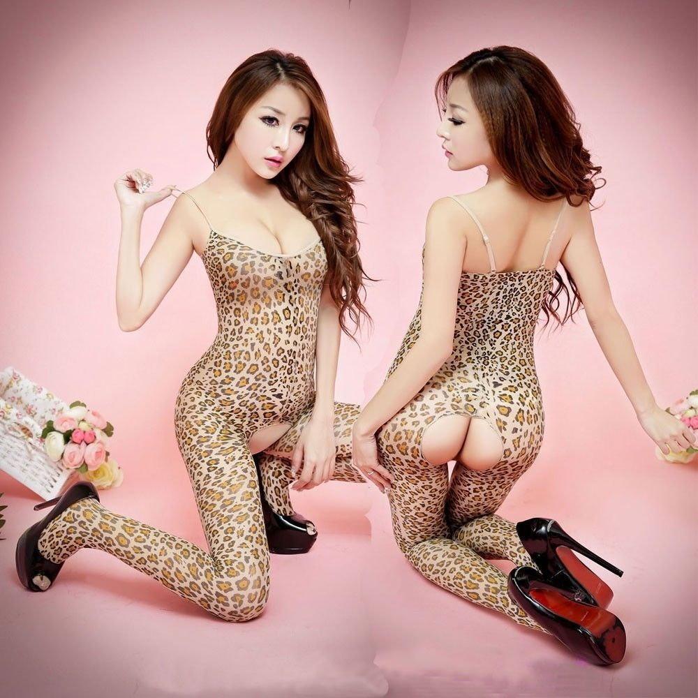 -Hot Sexy Lingerie Women's Open Crotch Leopard Bodystocking Stocking Bodysuit New(China (Mainland))