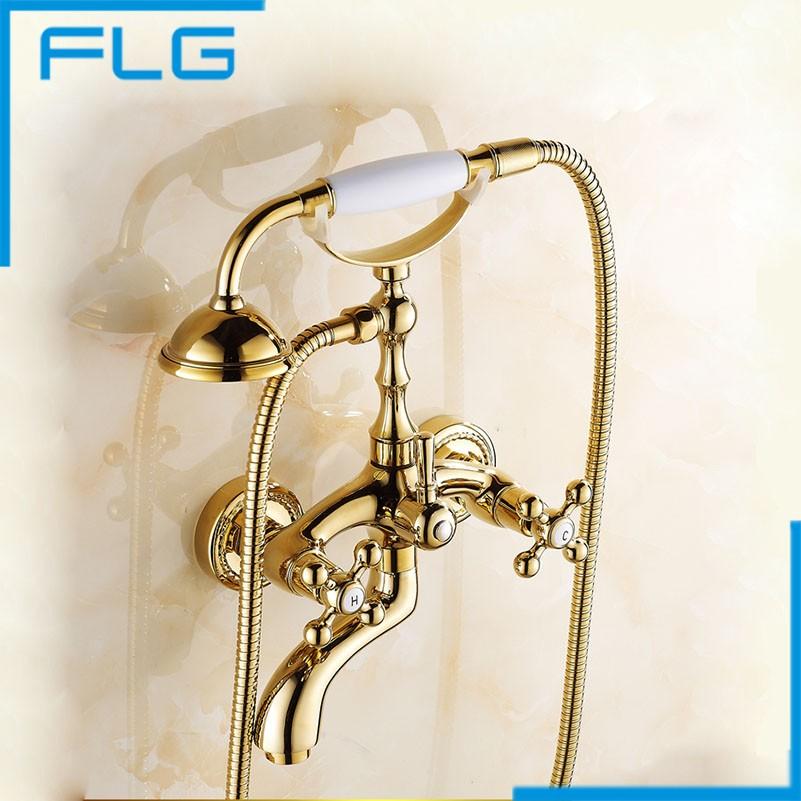 Gold Wall Mounted Bath Hand Shower Set, Brass Bathroom Dual Handles Mixer Tap Bath Faucet , Bath & Shower Faucets(China (Mainland))
