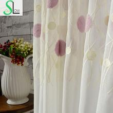 Dream Bubble Embroidery Curtain Cotton French Window Pastoral Sheer Curtains Tulle Living Room Bedroom Kids Modern Children(China (Mainland))