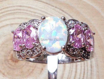 Nice pink fire opal rings for women's gift