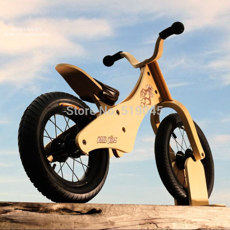 Hote sale the fashion style balance bike kids wooden toys Spot Solid tires wooden motorbike for children(China (Mainland))