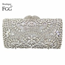 Sparkling Bling Women Silver Crystal Clutch Evening Bags Wedding Party Banquet Shoulder Handbags Purse Hardcase Metal Clutches(China (Mainland))