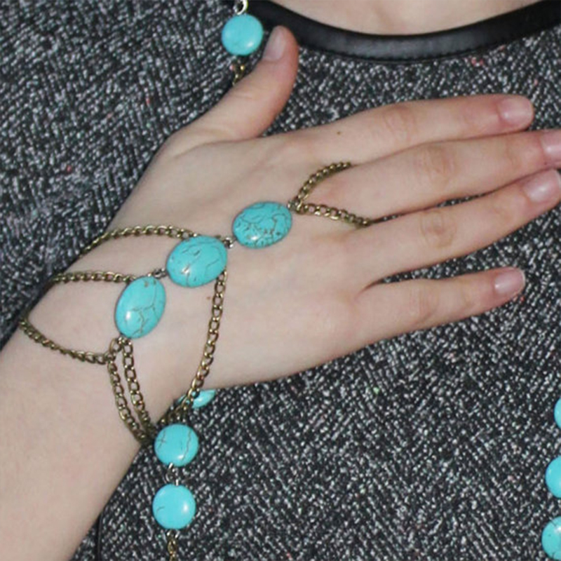 Fashion Bohemia Style Punk Beaded Balls Bracelet One Chain Circle Mittens Acrylic Bead Women(China (Mainland))