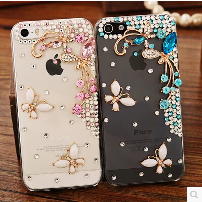 """Beautiful 3D flower Rhinestone Diamond Clear Crystal Butterfly Case for Alcatel One Touch IDOL 3 4.7"""" Cell Phone Cover(China (Mainland))"""