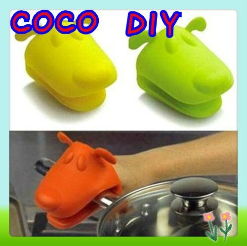 Dog/Doggie Design Pliable Silicone Pot Holder Silicone Glove Oven Mitt Free Shipping