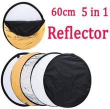 Free Shipping 24″ 60cm 5 in 1 Portable Collapsible Light Round Photography Reflector for Studio Multi Photo Disc