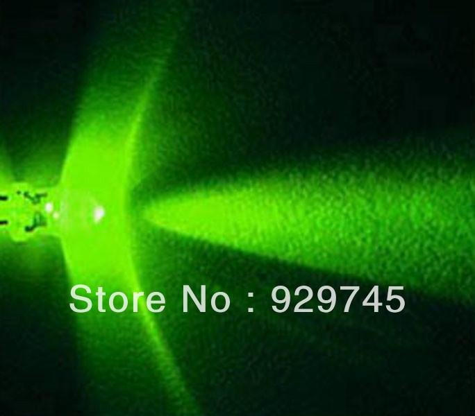 200pcs 3mm Green LED 15000 mcd Free Resistors(China (Mainland))