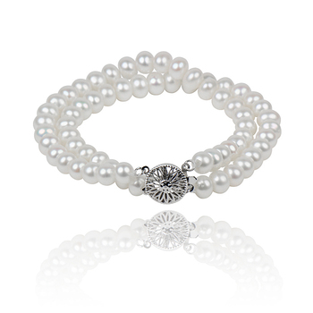 Beautiful Double-Strand Pearl Bracelets For Women,Length 7-9inch, 6-7mm Natural White Oval Freshwater Pearl,Direct Selling
