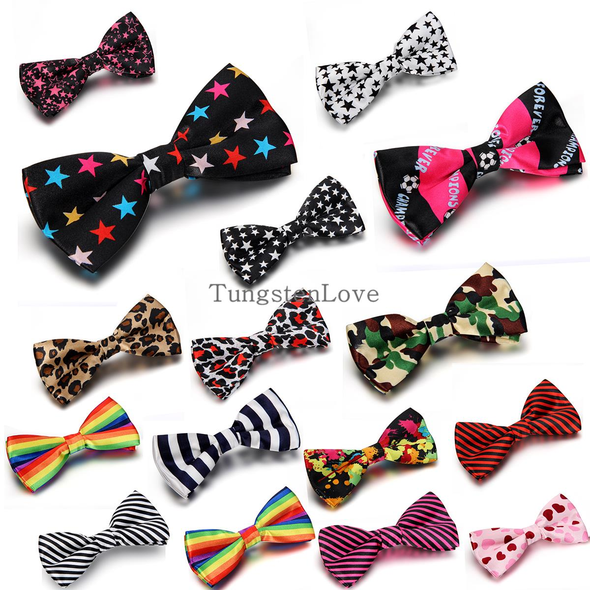 New Fashion Adjustable Star Leopard Striped Rainbow Letters Printed Tie Men Bowties Wedding Tie Banquet Tie Butterfly Pre-Tied(China (Mainland))