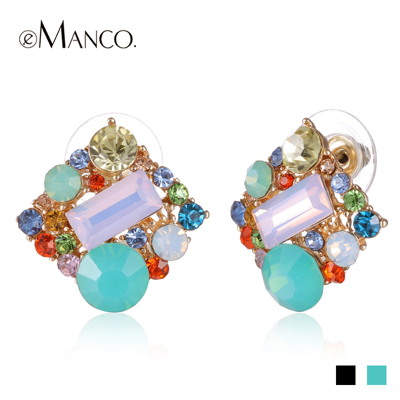 Spring earrings for women 2015 eManco square multicolor zinc alloy crystal stud earrings new fashion jewelry accessories ER50344(China (Mainland))
