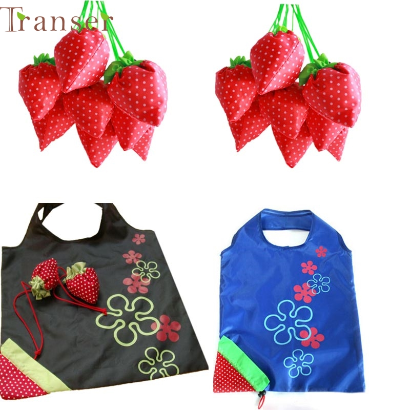 Shopping Bag New Simple Strawberry Fruit Green Folding Convenience Shopping Bag 0214 drop shipping(China (Mainland))