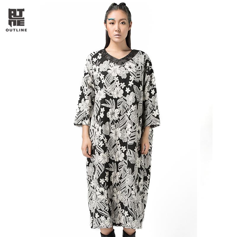 Outline Brand Women Autumn Dress Cotton V-neck Long Dresses Three quarter Sleeve Loose White Flower Pattern Dress L143Y016(China (Mainland))
