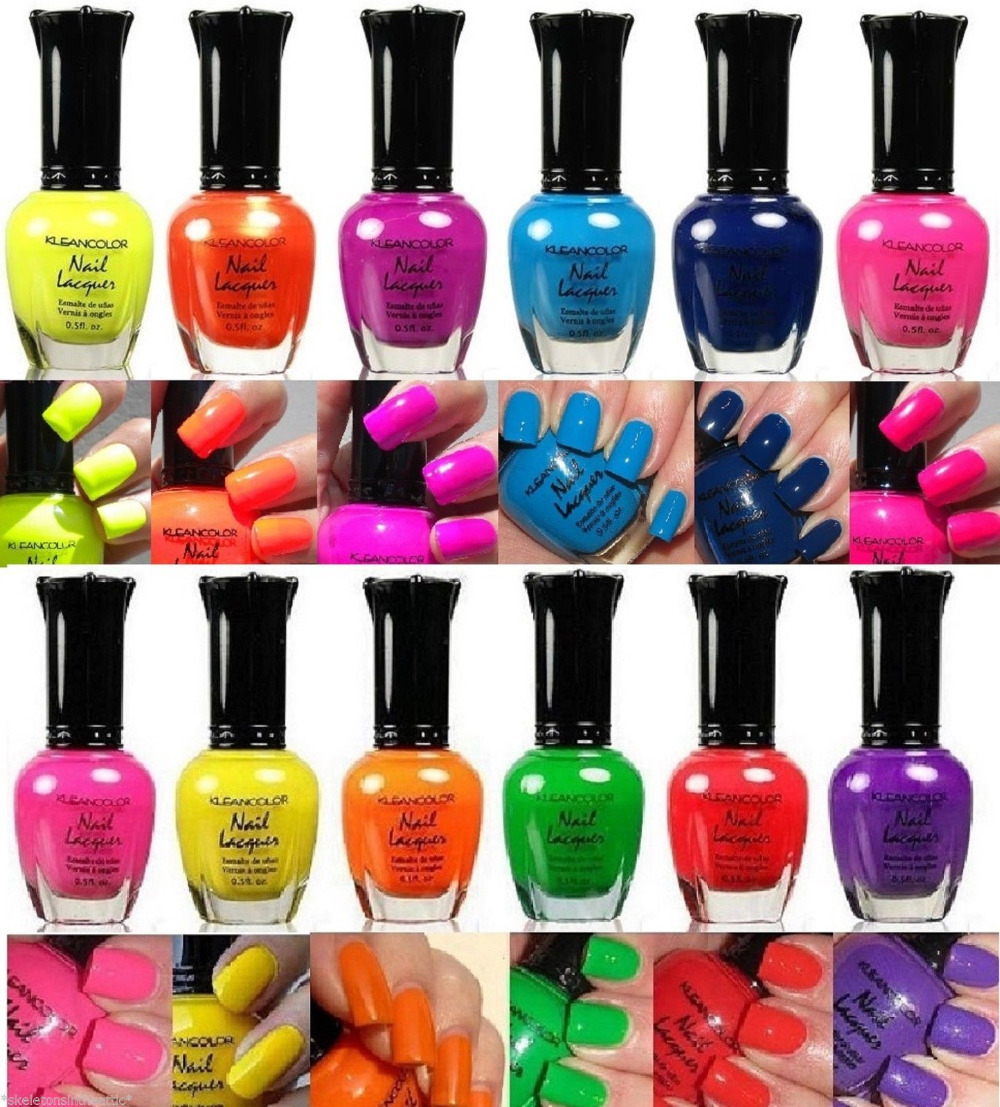 New Kleancolor Nail Polish Neon Collection Set of 12 Lacquer Full Size Art(China (Mainland))